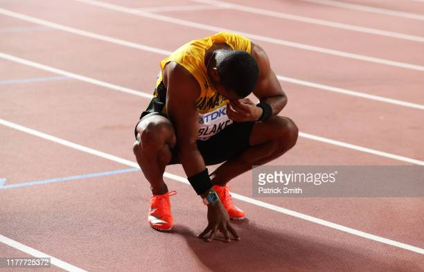 Yohan Blake of Jamaica reacts after the Men's 100 Metres final during day two of 17th IAAF World Athletics Championships Doha 2019 at Khalifa...