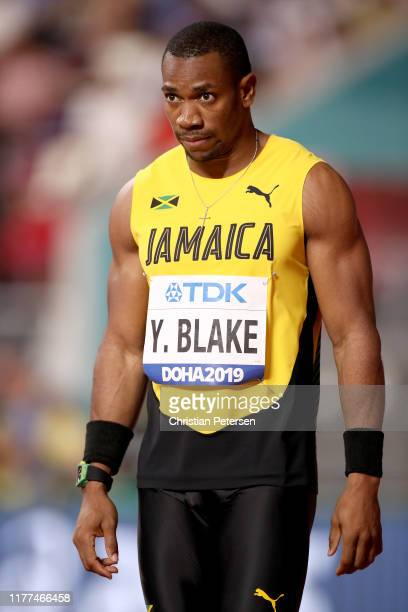Yohan Blake of Jamaica reacts in the Men's 100 metres heats during day one of 17th IAAF World Athletics Championships Doha 2019 at Khalifa...