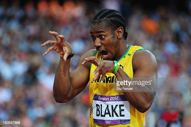 Yohan Blake of Jamaica 'roars' prior to the Men's 200m semi final on Day 12 of the London 2012 Olympic Games at Olympic Stadium on August 8, 2012 in...