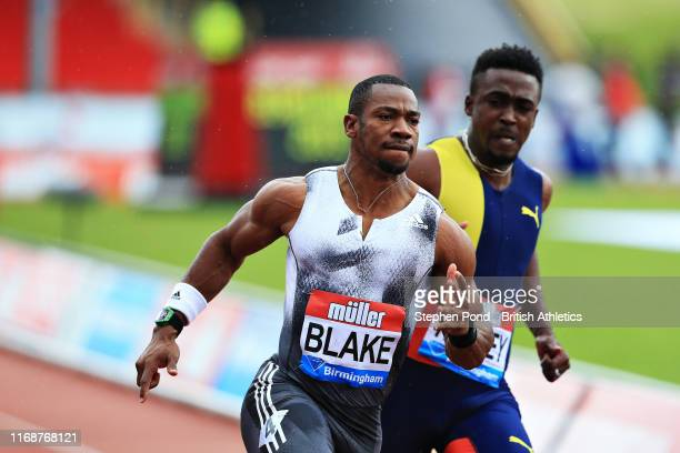 Yohan Blake of Jamaica wins in the Mens 100m Final during the Muller Birmingham Grand Prix & IAAF Diamond League event at Alexander Stadium on August...