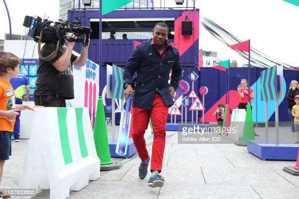 Yohan Blake takes part in the Street Race at the Nottingham fanzone during the ICC Cricket World Cup 2019 at Old Market Square on May 31, 2019 in...