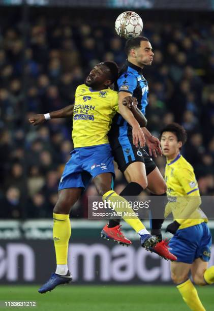 Yohan Boli of STVV and Sofyan Amrabat of Club Brugge fight for the ball during the Jupiler Pro League match between Club Brugge and SintTruidense VV...