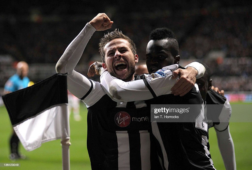 Yohan Cabaye celebrates with Cheik Tiote after Cabaye scored the second goal from a free kick during the Barclays Premier League match between Newcastle United and Manchester United at The Sports Direct Arena on January 04, 2012 in Newcastle, England.