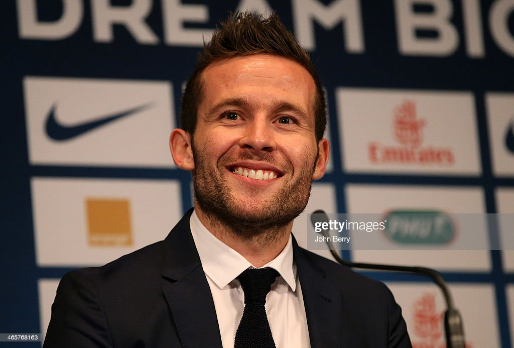 Yohan Cabaye is presented by Nasser Al-Khelaifi, president of Paris Saint-Germain as a new player of PSG during a press conference with a jersey presentation at the Parc des Princes stadium on January 29, 2014 in Paris, France.