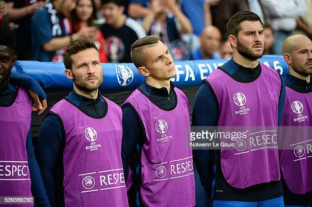 Yohan Cabaye Lucas Digne and Andre Pierre Gignac during the GroupA preliminary round match between France and Romania at Stade de France on June 10...