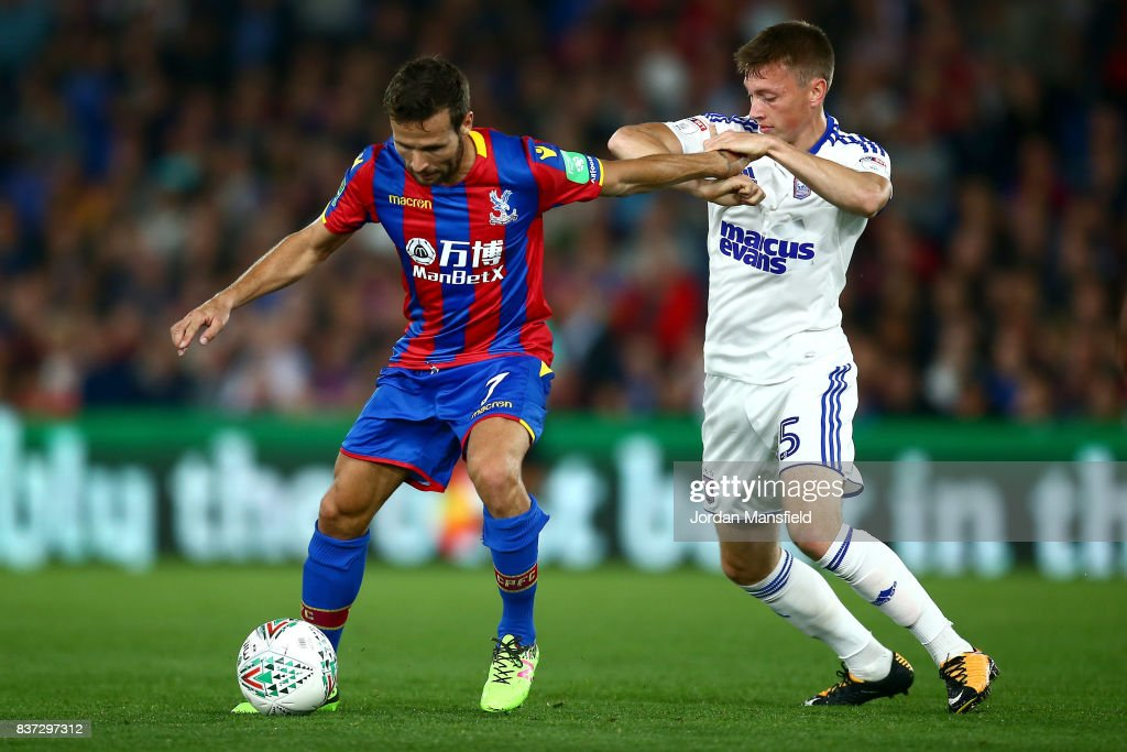 Yohan Cabaye of Crystal Palace and Ben Morris of Ipswich during the Carabao Cup Second Round match between Crystal Palace and Ipswich Town at Selhurst Park on August 22, 2017 in London, England.