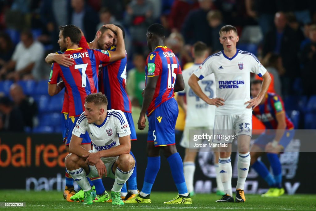 Yohan Cabaye of Crystal Palace and Jeffrey Schlupp of Crystal Palace celebrate victory after the Carabao Cup Second Round match between Crystal Palace and Ipswich Town at Selhurst Park on August 22, 2017 in London, England.