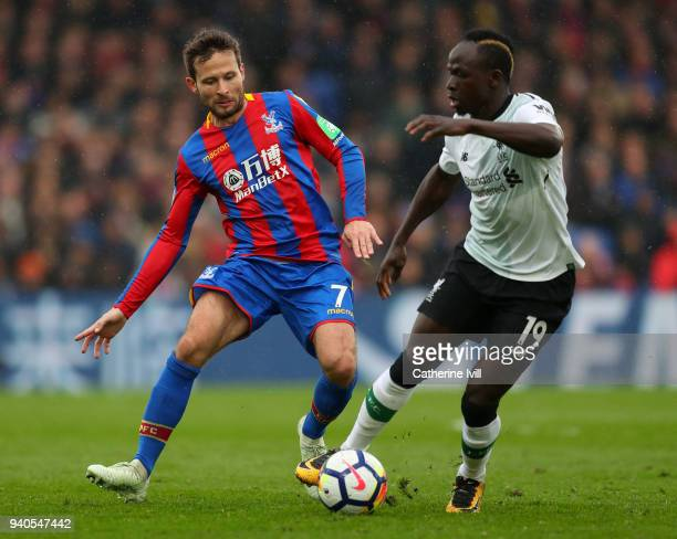 Yohan Cabaye of Crystal Palace and Sadio Mane of Liverpool in action during the Premier League match between Crystal Palace and Liverpool at Selhurst...