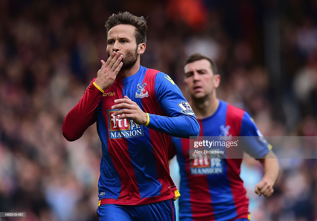 Yohan Cabaye of Crystal Palace celebrates scoring his team's first goal from the penalty spot during the Barclays Premier League match between Crystal Palace and West Ham United at Selhurst Park on October 17, 2015 in London, England.