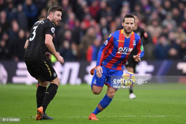 Yohan Cabaye of Crystal Palace gets past Paul Dummett of Newcastle United during the Premier League match between Crystal Palace and Newcastle United...