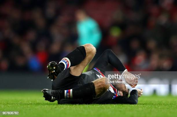 Yohan Cabaye of Crystal Palace goes down in pain during the Premier League match between Arsenal and Crystal Palace at Emirates Stadium on January 20...