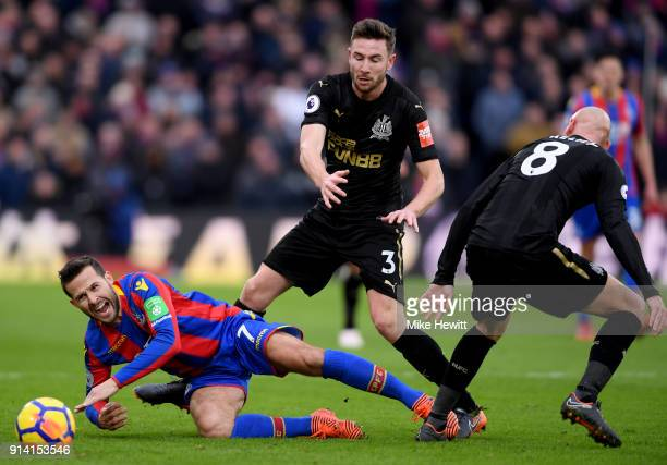 Yohan Cabaye of Crystal Palace is fouled by Paul Dummett of Newcastle United during the Premier League match between Crystal Palace and Newcastle...