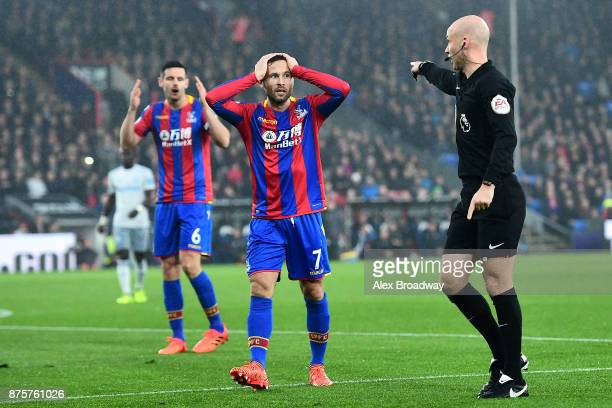 Yohan Cabaye of Crystal Palace reacts after referee Anthony Taylor points the penalty spot during the Premier League match between Crystal Palace and...