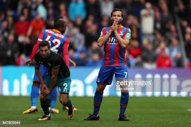 Yohan Cabaye of Crystal Palace reacts during the Premier League match between Crystal Palace and Southampton at Selhurst Park on September 16 2017 in...
