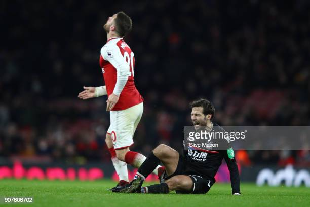 Yohan Cabaye of Crystal Palace reacts during the Premier League match between Arsenal and Crystal Palace at Emirates Stadium on January 20 2018 in...
