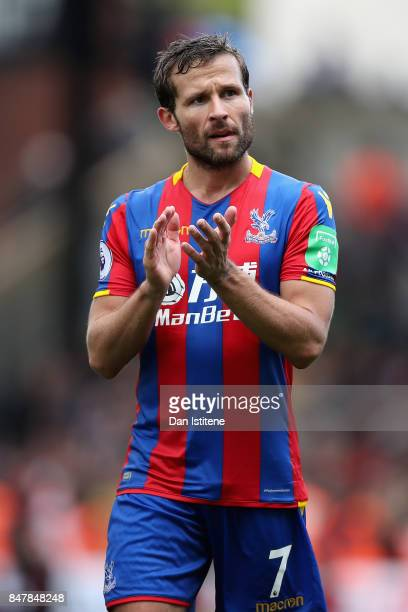 Yohan Cabaye of Crystal Palace shows appreciation to the fans after the Premier League match between Crystal Palace and Southampton at Selhurst Park...