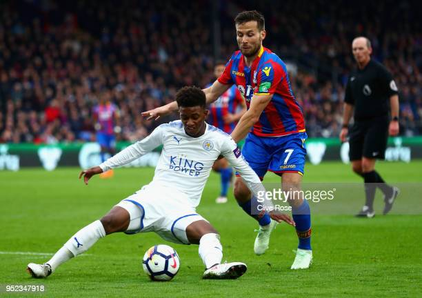 Yohan Cabaye of Crystal Palace tackles Demarai Gray of Leicester City during the Premier League match between Crystal Palace and Leicester City at...