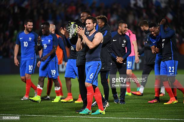Yohan Cabaye of France acknowledges the crowd at the end of the gameduring the international friendly match between France and Scotland at Stade...