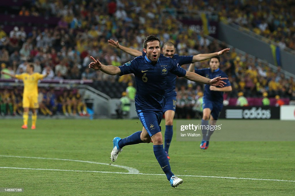 Yohan Cabaye of France ceelbrates scoring their second goal during the UEFA EURO 2012 group D match between Ukraine and France at Donbass Arena on June 15, 2012 in Donetsk, Ukraine.