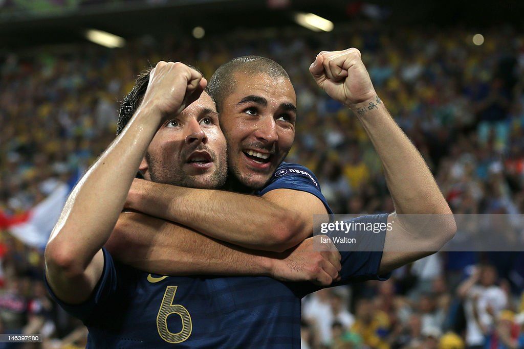 Yohan Cabaye of France celebrates scoring their second goal with Karim Benzema of France during the UEFA EURO 2012 group D match between Ukraine and France at Donbass Arena on June 15, 2012 in Donetsk, Ukraine.