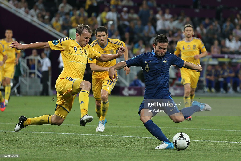 Yohan Cabaye of France scores the second goal past Oleh Gusev of Ukraine during the UEFA EURO 2012 group D match between Ukraine and France at Donbass Arena on June 15, 2012 in Donetsk, Ukraine.
