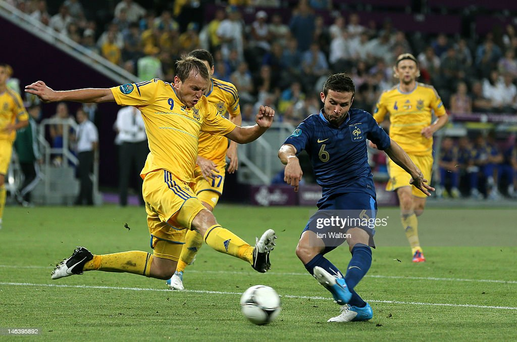 Yohan Cabaye of France scores the second goal past Oleh Husyev of Ukraine during the UEFA EURO 2012 group D match between Ukraine and France at Donbass Arena on June 15, 2012 in Donetsk, Ukraine.