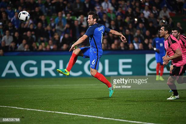 Yohan Cabaye of France send his chance wide during the international friendly match between France and Scotland at Stade SaintSymphorien on June 4...