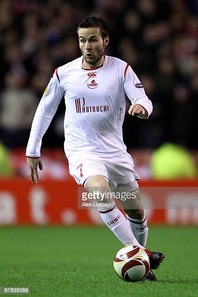 Yohan Cabaye of Lille in action during the UEFA Europa League Round of 16 second leg match between Liverpool and Lille at Anfield on March 18 2010 in...