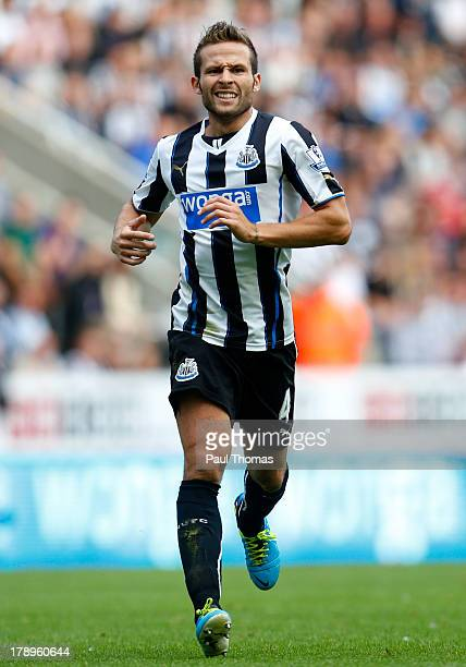 Yohan Cabaye of Newcastle in action during the Premier League match between Newcastle United and Fulham at the St James Park on August 31 2013 in...
