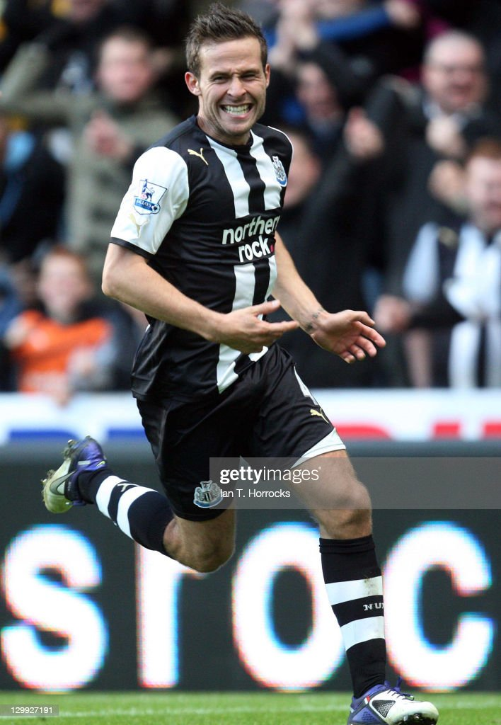 Yohan Cabaye of Newcastle United celebrates after scoring the 1-0 goal during the Barclays Premier League match between Newcastle United and Wigan Athletic at St James' Park on October 22, 2011 in Newcastle Upon Tyne, United Kingdom.