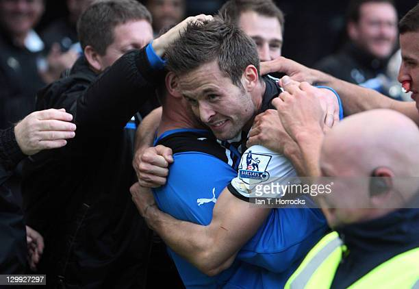 Yohan Cabaye of Newcastle United celebrates after scoring the 1-0 goal during the Barclays Premier League match between Newcastle United and Wigan...