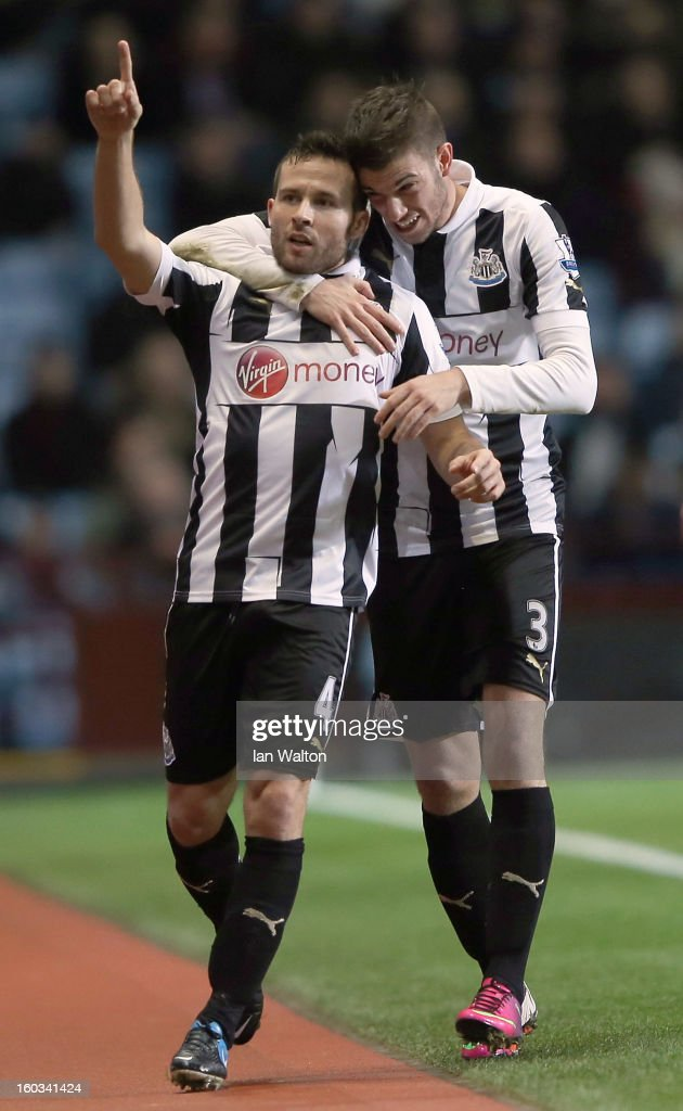 Yohan Cabaye of Newcastle United celebrates scoring the 2nd goal during the Barclays Premier League match between Aston Villa and Newcastle United at at Villa Park on January 29, 2013 in Birmingham, England.