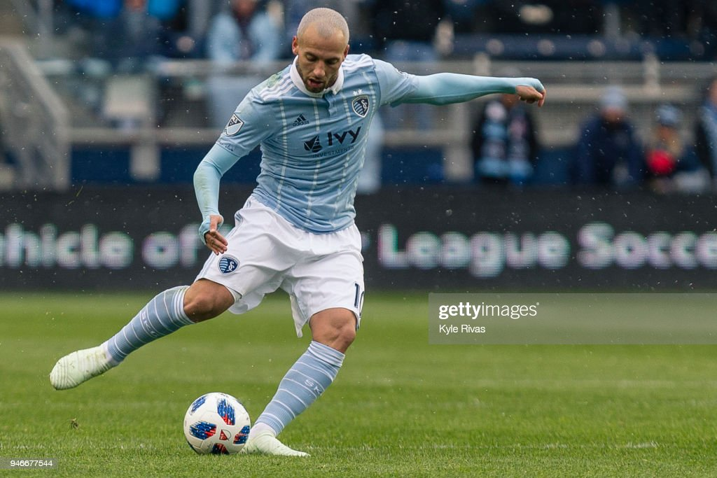 Yohan Croizet #10 of Sporting Kansas City pushes the ball up the field against the Seattle Sounders during the second half on April 15, 2018 at Children's Mercy Park in Kansas City, Kansas.
