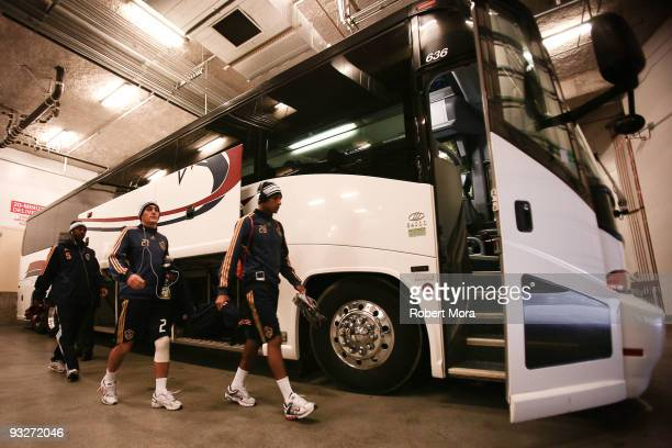 Yohance Marshall, Bryan Jordan, and Sean Franklin of the Los Angeles Galaxy board the bus to the team's training session at Qwest Field on November...