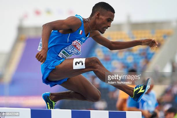 Yohanes Chiappinelli from Italy competes in men's 3000m steeplechase final during Day 4 of European Athletics U23 Championships 2017 at Zawisza...