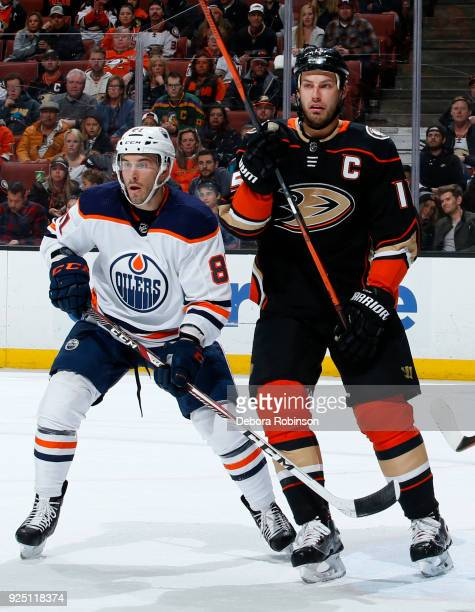 Yohann Auvitu of the Edmonton Oilers and Ryan Getzlaf of the Anaheim Ducks battle for position during the game on February 25 2018 at Honda Center in...