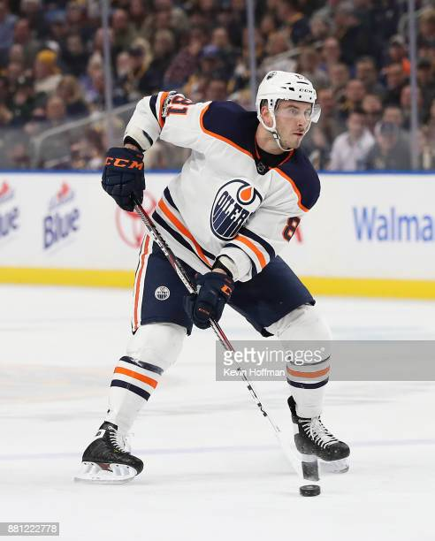 Yohann Auvitu of the Edmonton Oilers during the game against the Buffalo Sabres at the KeyBank Center on November 24 2017 in Buffalo New York
