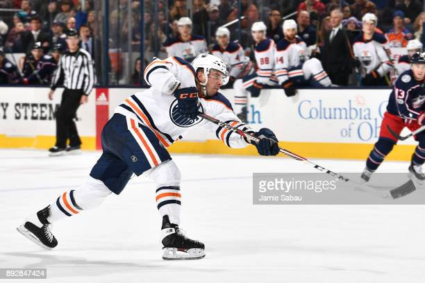 Yohann Auvitu of the Edmonton Oilers skates against the Columbus Blue Jackets on December 12 2017 at Nationwide Arena in Columbus Ohio