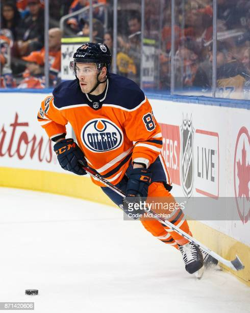 Yohann Auvitu of the Edmonton Oilers skates against the Pittsburgh Penguins at Rogers Place on November 1 2017 in Edmonton Canada