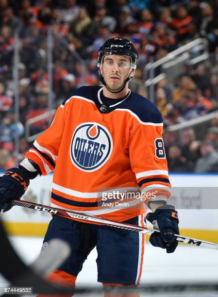 Yohann Auvitu of the Edmonton Oilers skates during the game against the Pittsburgh Penguins on November 1 2017 at Rogers Place in Edmonton Alberta...