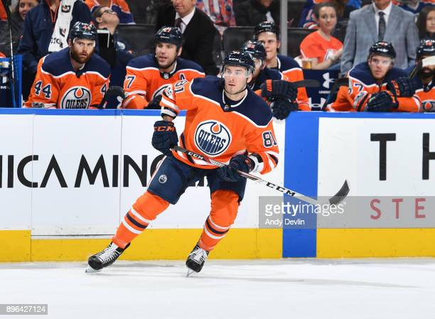 Yohann Auvitu of the Edmonton Oilers skates during the game against the Nashville Predators on December 14 2017 at Rogers Place in Edmonton Alberta...