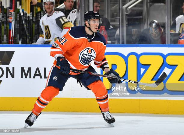 Yohann Auvitu of the Edmonton Oilers skates during the game against the Vegas Golden Knights on November 14 2017 at Rogers Place in Edmonton Alberta...