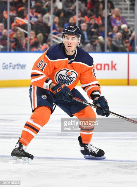 Yohann Auvitu of the Edmonton Oilers skates during the game against the Florida Panthers on February 12 2018 at Rogers Place in Edmonton Alberta...
