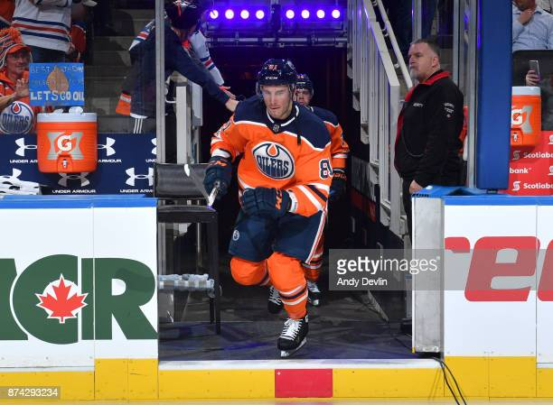 Yohann Auvitu of the Edmonton Oilers steps onto the ice prior to the game against the Vegas Golden Knights on November 14 2017 at Rogers Place in...