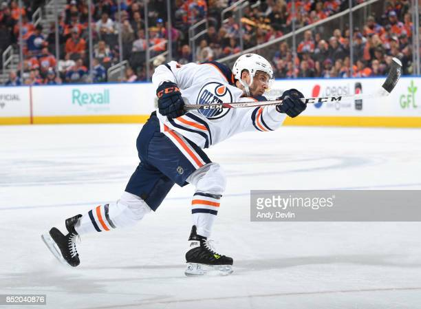 Yohann Auvitu of the Edmonton Oilers takes a shot during the preseason game against the Vancouver Canucks on September 22 2017 at Rogers Place in...