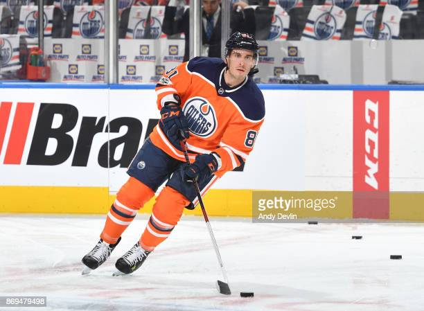 Yohann Auvitu of the Edmonton Oilers warms up prior to the game against the Calgary Flames on October 4 2017 at Rogers Place in Edmonton Alberta...