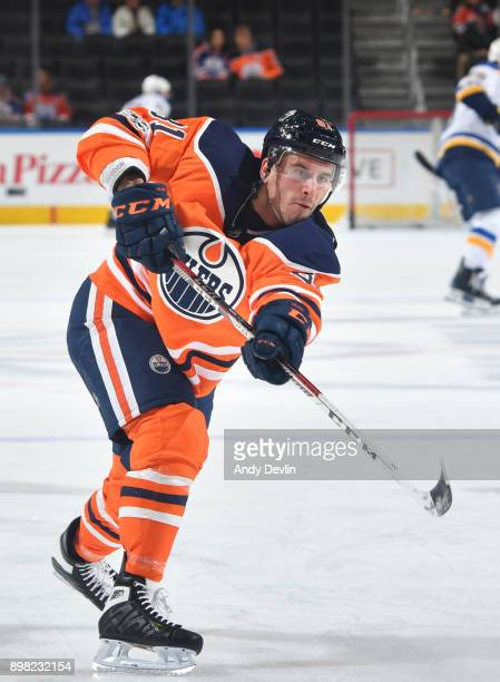 Yohann Auvitu of the Edmonton Oilers warms up prior to the game against the St Louis Blues on November 16 2017 at Rogers Place in Edmonton Alberta...