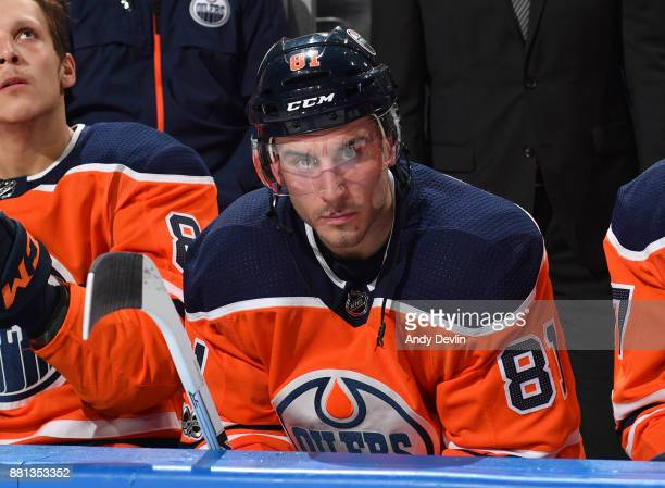 Yohann Auvitu of the Edmonton Oilers watches from the bench prior to the game against the Arizona Coyotes on November 28 2017 at Rogers Place in...