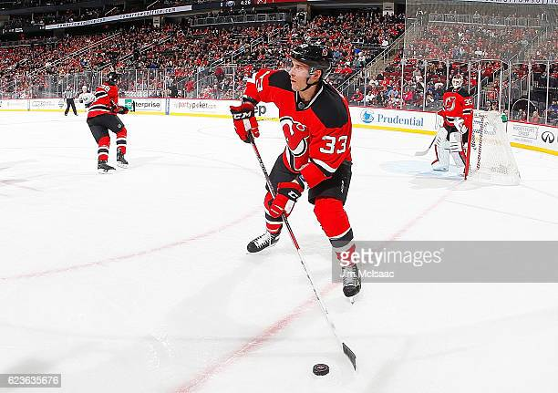 Yohann Auvitu of the New Jersey Devils in action against the Buffalo Sabres at the Prudential Center on November 12 2016 in Newark New Jersey The...