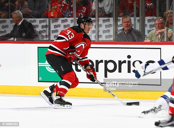 Yohann Auvitu of the New Jersey Devils in action against the Tampa Bay Lightning during their game at the Prudential Center on October 29 2016 in...